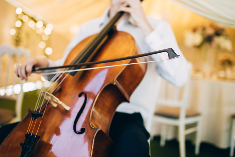 A cello player at a formal event